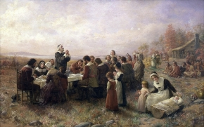 The First Thanksgiving at Plymouth By Jennie A. Brownscombe, 1914