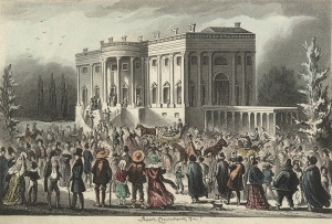 Crowd awaiting the reception after Jackson's first inauguration.