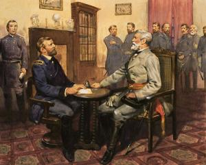 Lee and Grant meet in McLean front parlor to sign the terms of surrender.
