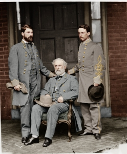 George W. C. Lee, Robert E. Lee (seated), and another officer.