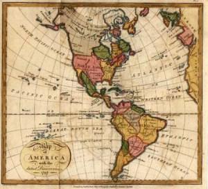 Map of Americas circa 1860