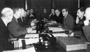 Allies around the conference table at the Anfa Conference, a.k.a., First Allied Conference or Casablanca Conference.