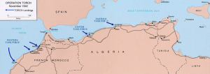 Allied landing points, Operation Torch, Nov. 1942.