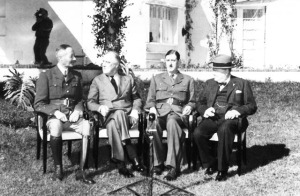 L-R, Henri Giraurd, Roosevelt, de Gaulle, Churchill in front of the Anfa Hotel, cite of the First Allied Conference, 1943