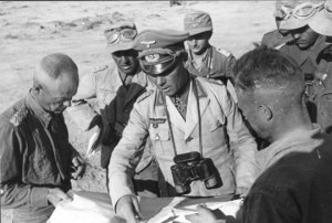"Field Marshall Erwin Rommel, ""the Desert Fox"", and staff in North Africa"
