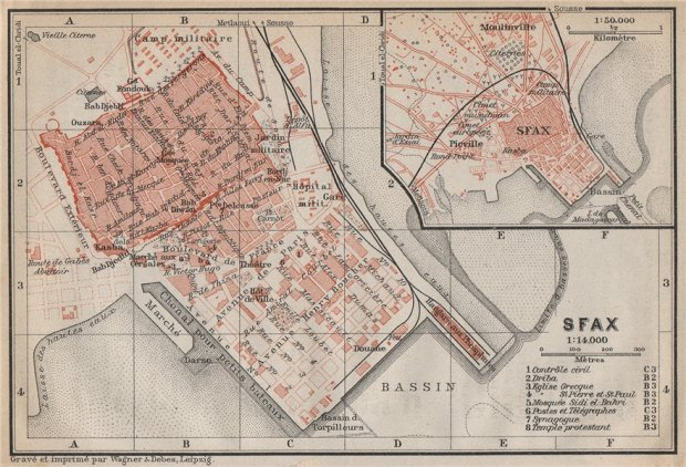 Antique map of Sfax