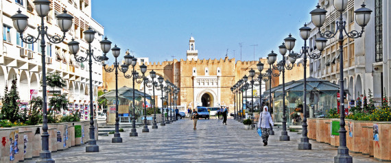 View down a broad avenue toward the main entrance to the old Medina.