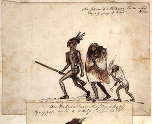 An Indian of ye Outawas Tribe & his Family going to War, by George Townshend, 4th Viscount and 1st Marquess Townshend (died 1807), 1751-1758