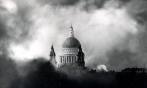 Dome of St. Paul's Cathedral with smoke from raging fires of first night of the London Blitz, Sept. 7, 1940. The Blitz lasted for 76 consecutive nights. [1]