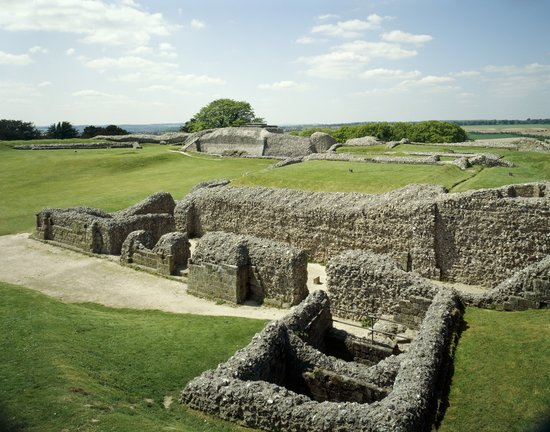 Close up of Old Sarum Cathedral foundations