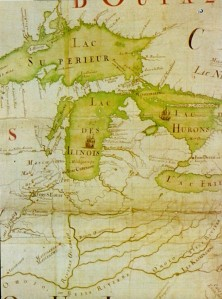 Eastern North America by J-B. Franquelin, 1688 (detail of the Great Lakes—Service historique de la Marine, Paris, France)