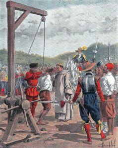 Champlain hangs a conspirator (illustration; Eugène Guénin, La Nouvelle-France, Paris : Hachette, 1900,