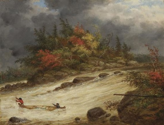 Indians Canoeing the Rapids, Cornelius Kreighoff, 1856)