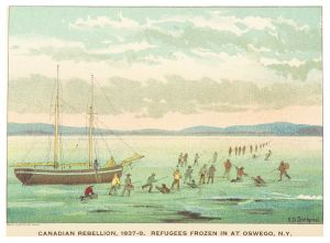 Refugees Escaping Over the Ice, 1837, from Upper Canada Sketches by Thomas Conant