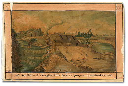 Locks Under Construction (along the Rideau Canal) 1830, by Thomas Burrowes [Public domain], via Wikimedia Commons