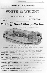 From R. Ross, Malarial fever, it's cause, prevention and treatment, CC 4.0 via Wikimedia commons and the Welcome Trust Credit: Wellcome Library, London. Wellcome Images images@wellcome.ac.uk http://wellcomeimages.org Advertisement for The Folding Hood Mosquito Net by White and Wright. Malarial fever, it's cause, prevention and treatment Ronald Ross Published: 1900 Copyrighted work available under Creative Commons Attribution only licence CC BY 4.0 http://creativecommons.org/licenses/by/4.0/