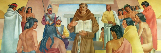 A Franciscan Friar Showing A Book to Indians in the 17th Century