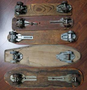 Skateboards-made-from-old-roller-skates.