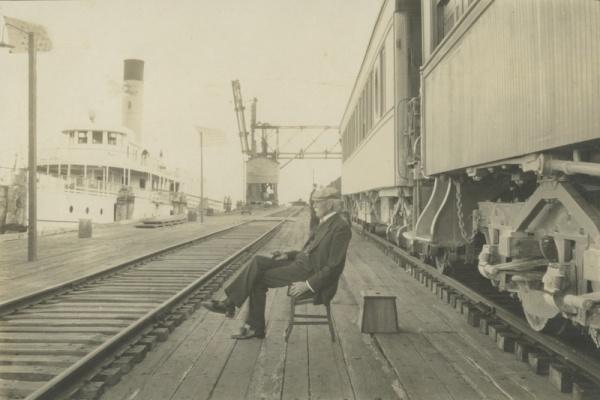 flagler seated at depot